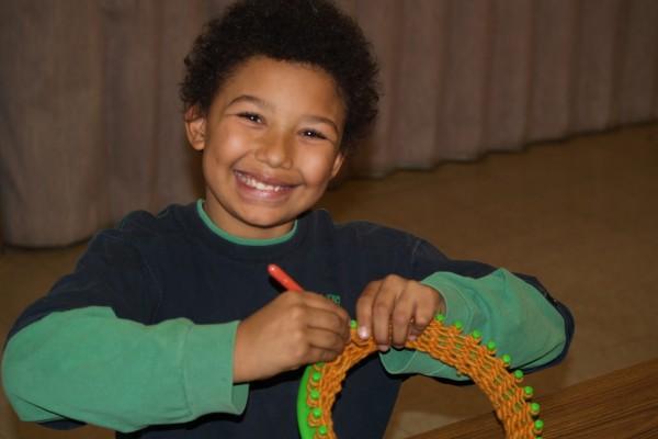 knitting smiling